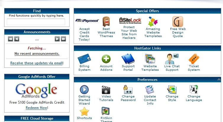 hostgator webhosting cpanel