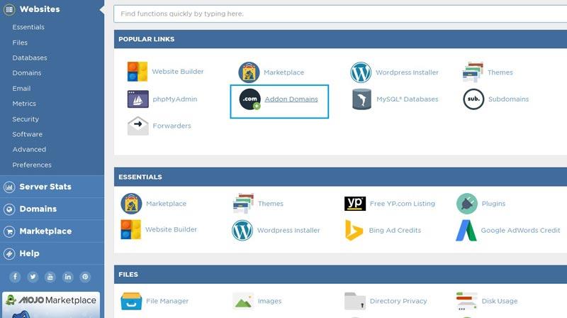 Menambahkan addon domain pada hosting